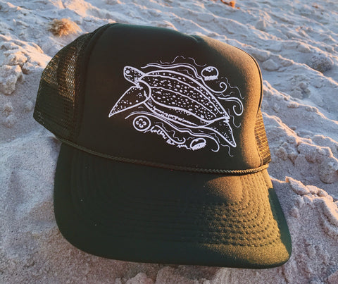 leatherback sea turtle hat follow the sun art