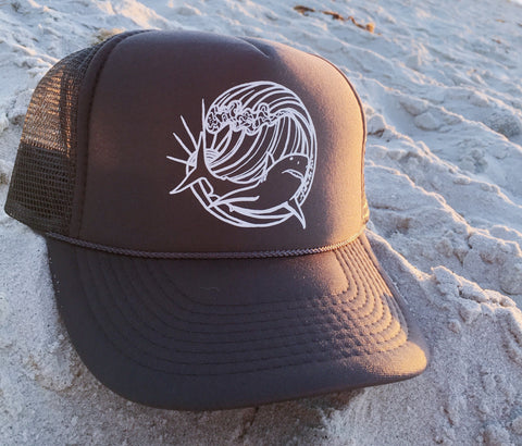 shark trucker hat follow the sun art