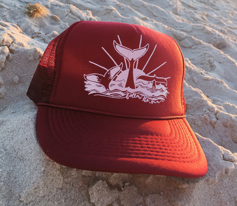 whale trucker hat follow the sun art