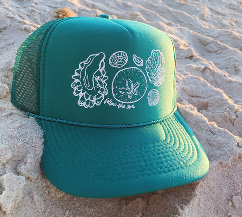 Sea shell trucker hat follow the sun art