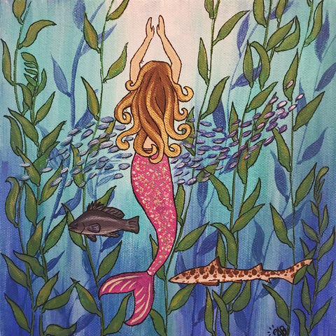 mermaid painting, follow the sun art, anastasiya bachmanova