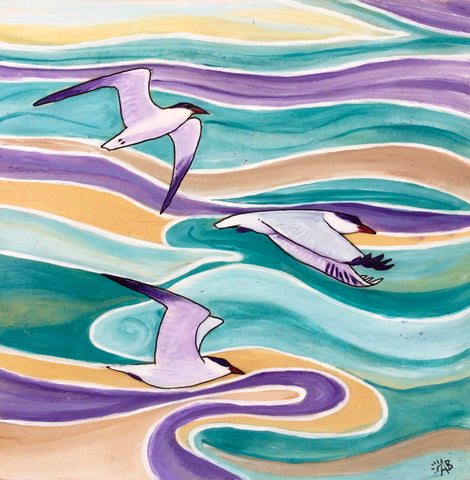caspain terns abstract bird art