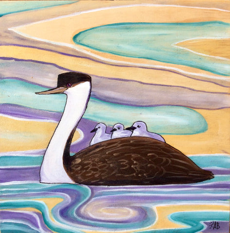 grebe babies riding on moms back painting
