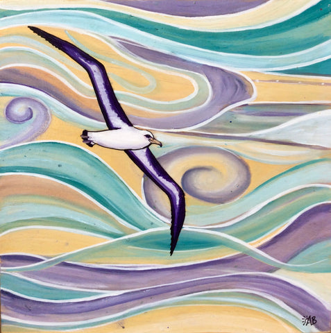 albatross original acrylic bird painting