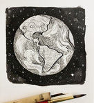 earth illustration, earth drawing, follow the sun art, inktober