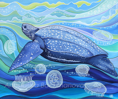 Leatherback sea turtle painting Follow the sun art
