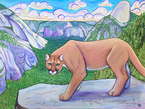 mountain lion painting, yosemite art, follow the sun art, anastasiya bachmanova