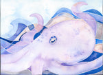 octopus watercolor painting follow the sun art