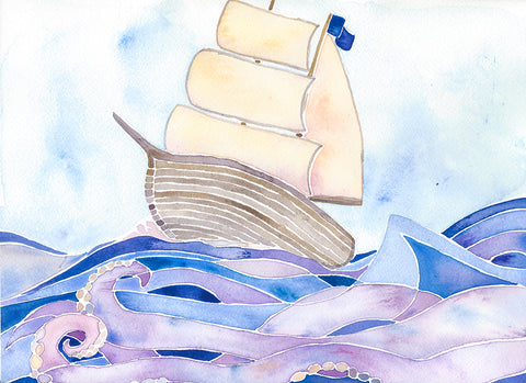 watercolor ship painting follow the sun art