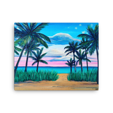 sunset beach palm trees wall art