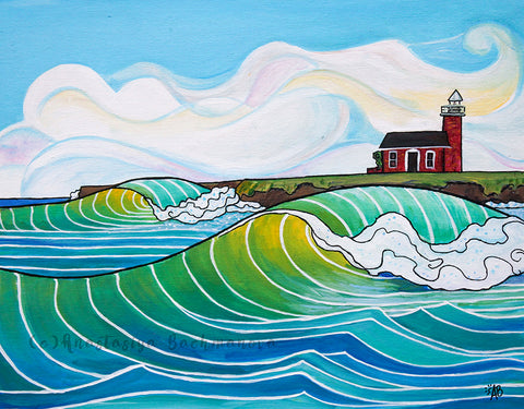 steamer lane surf art painting, follow the sun, santa cruz, california