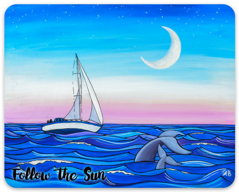 sunset sailing sailboat whales ocean sticker