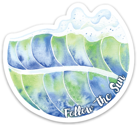watercolor surf art sticker