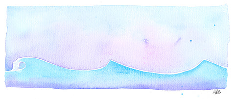 dawn vibes watercolor surf art