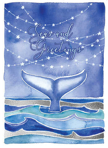 whale ocean holiday christmas card