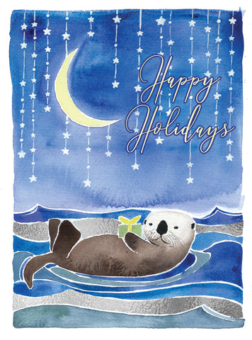 sea otter ocean holiday christmas card