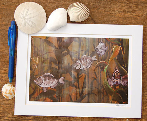 kelp forest fish art print