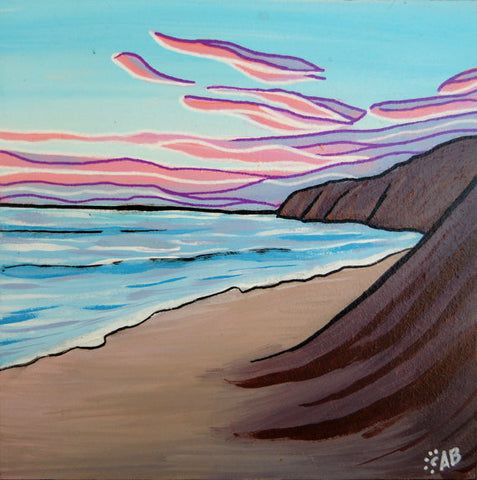 beach sunset painting follow the sun art