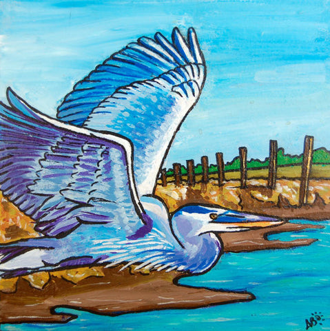 great blue heron painting follow the sun art