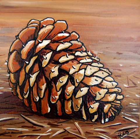 ponderosa pine cone painting follow the sun art
