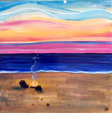 beach bonfire sunset painting follow the sun