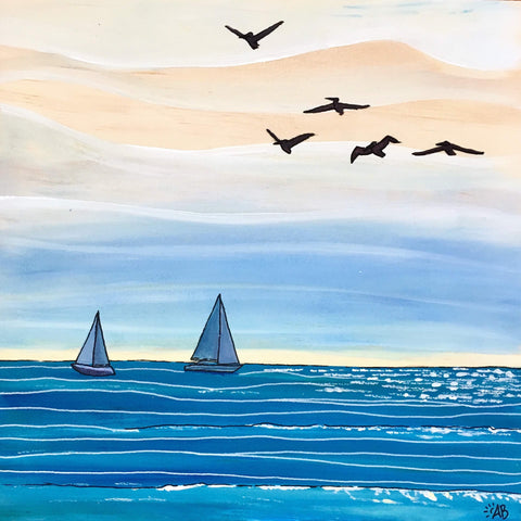 'Summer Sailing' Acrylic Painting