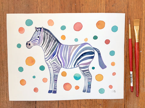 Party Zebra Watercolor Illustration