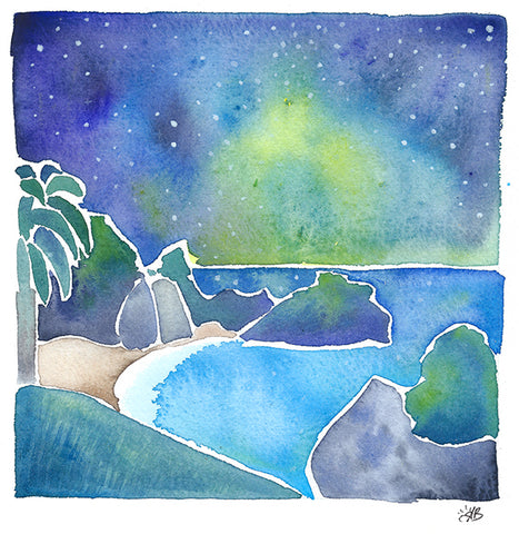 big sur, mcway falls, julia pfeiffer state park watercolor art painting