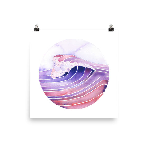 purple peak watercolor surf art print, anastasiya bachmanova