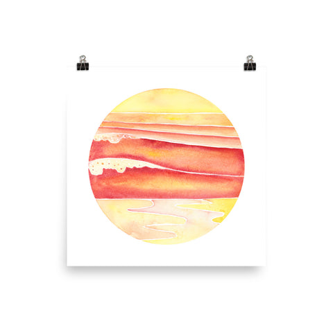 sunset sets watercolor surf art print, anastasiya bachmanova