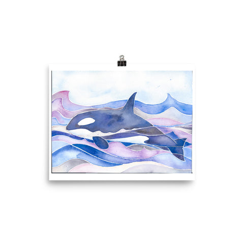 killer whale, orca, watercolor art print, follow the sun art