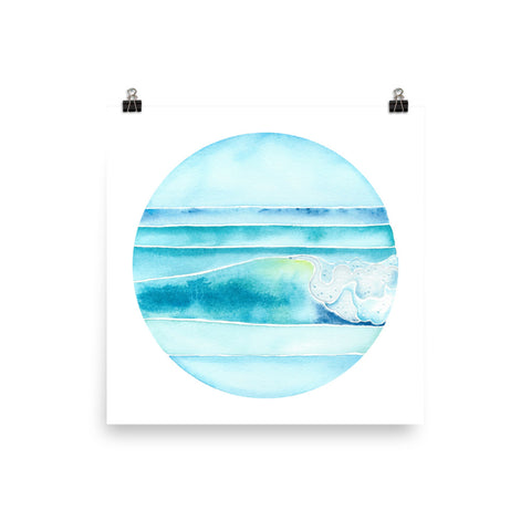 watercolor surf art ocean wave print, anastasiya bachmanova