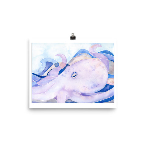 watercolor octopus art print, anastasiya bachmanova