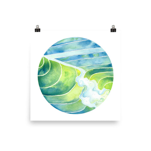 watercolor surf art wave print, anastasiya bachmanova