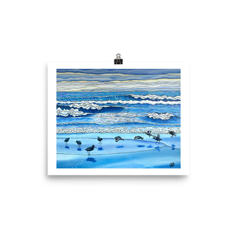beach painting shorebirds art print, anastasiya bachmanova