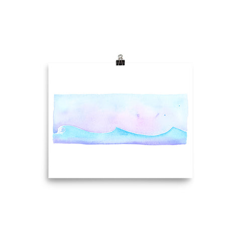 watercolor surf art print, follow the sun art