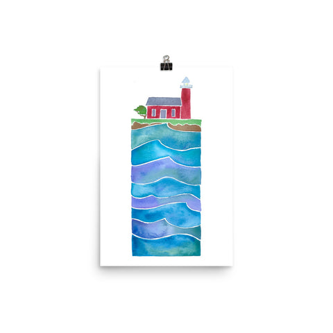 steamer lane, santa cruz, lighthouse, watercolor art print, anastasiya bachmanova