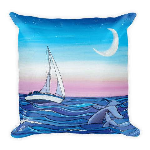 sailing whale moon sailboat throw pillow, ocean beach coastal decor, follow the sun art
