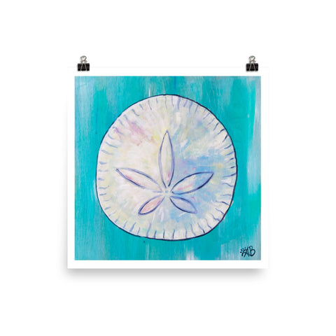 sand dollar turquoise art print beach house decor