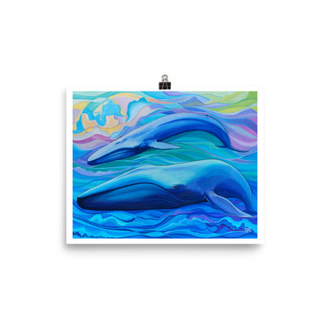 blue whale art print, follow the sun art