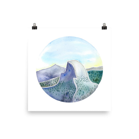 half dome watercolor art print, follow the sun art