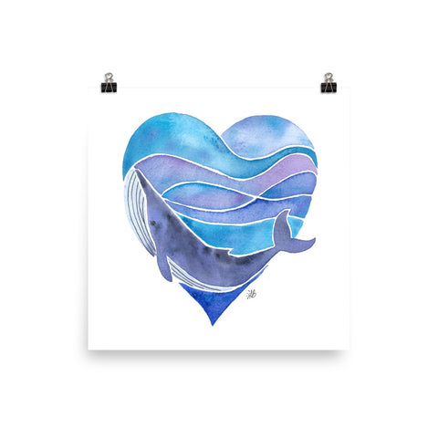 whale love watercolor art print, anastasiya bachmanova