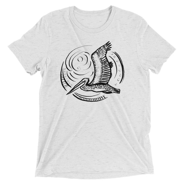california pelican t shirt, follow the sun art