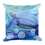 Sea turtle pillow follow the sun art