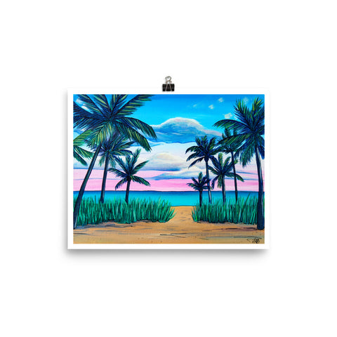 sunset palm trees tropical beach art