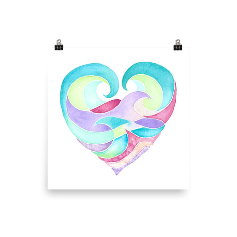 ocean heart watercolor art print, follow the sun art