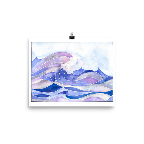 watercolor wave art print, anastasiya bachmanova