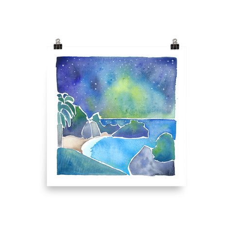 mcway falls julia pfieffer big sur night watercolor painting