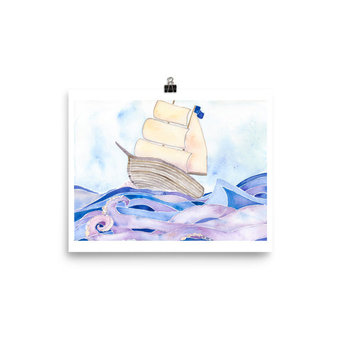 tall ship, pirate ship, watercolor art print, anastasiya bachmanova