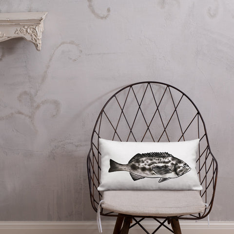 rock fish pillow, home decor, beach house, coastal decor, follow the sun art